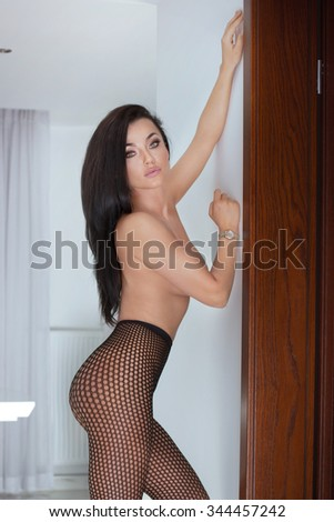 Alluring sexy woman posing in erotic lingerie, looking at camera. Girl with long black hair and glamour makeup. - stock photo