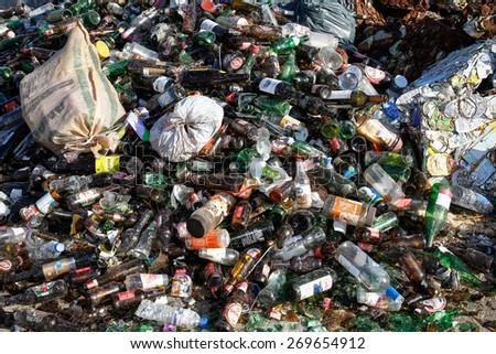 Almada, Portugal 2014: Pile of glass waste for recycling or safe disposal,  - stock photo
