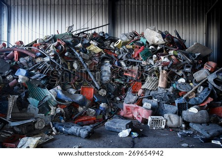 Almada, Portugal 2014: Pile of plastic waste for recycling or safe disposal, - stock photo