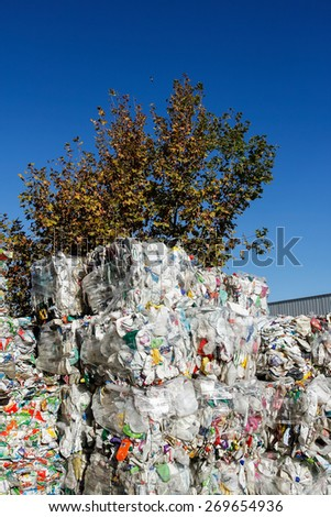 Almada, Portugal 2014: Pile of waste and trash for recycling or safe disposal - stock photo