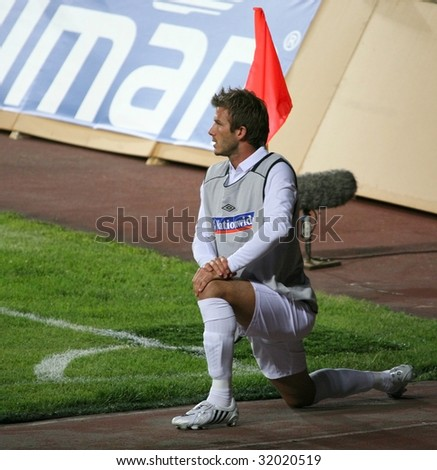 ALMATY - JUNE 6: Footballer Beckham participates Kazakhstan v England, FIFA World Cup European Qualifying, Group Six, 6th June 2009 - stock photo