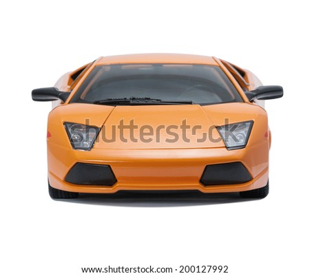 Almaty, Kazakhstan - June 17, 2014: Collectible toy model Lamborghini Murcielago LP640 front view  on white background - stock photo