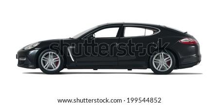 Almaty, Kazakhstan - 10 March 2014: Collectible toy car Porsche Panamera Turbo on a white background - stock photo