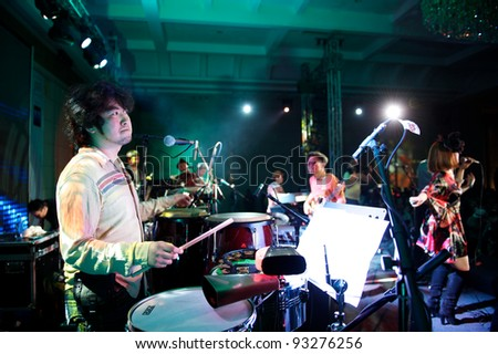 "ALMATY, KAZAKHSTAN - MAY 6: Kenichi Ikeda and Root Soul Musical group. ""The 4th International Jazzystan Festival. ""Pray For Japan. We Are ONE"". in Almaty Towers"" May 06, 2011 in Almaty, Kazakhstan."