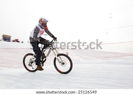 Almaty, Kazakstan - February 15: Red Bull Snow BikeCross, February 15, 2009 in Almaty, Kazakstan. Competitor Farit Saushkin N15