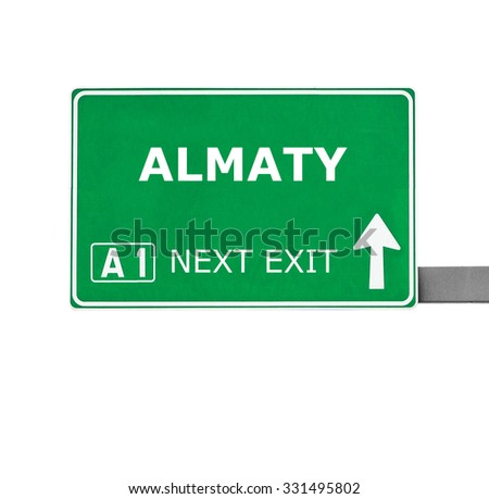 ALMATY road sign isolated on white