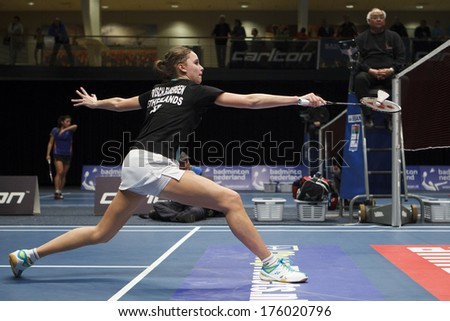 ALMERE - FEBRUARY 1: Soraya de Visch Eijbergen reaches the semi finals in the National Championships badminton 2014 in Almere, The Netherlands on February 1, 2014. - stock photo