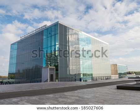 ALMERE, NETHERLANDS - 26 OCT. 2013: The square theatre building by Japanese architects Sejima and Nishizawa in the city of Almere, Flevoland, the youngest and fastest growing city in the Netherlands