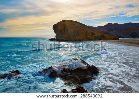 Almeria Playa del Monsul beach sunset at Cabo de Gata in Spain - stock photo