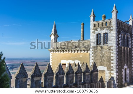 Almodovar del Rio Castle, arab fortress built in 740 on an old building in early times near Cordoba, Andalusia, Spain. - stock photo