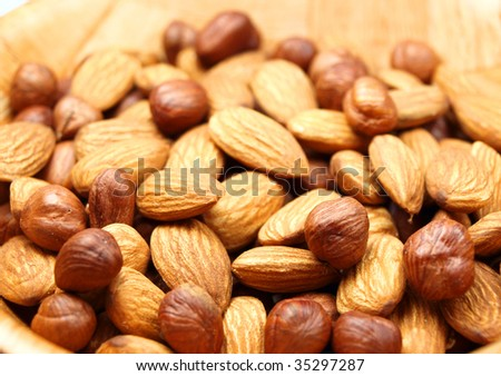 Almond and hazelnut abstract background