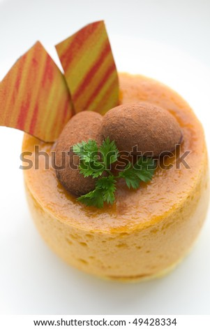 Almond and Mango Mousse (top view white background)