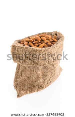 Almond bag isolated on white background