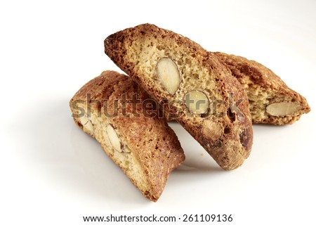 Almond biscuits with flour, almonds, eggs, sugar, milk and butter product typical of the region Tuscany Italy - stock photo