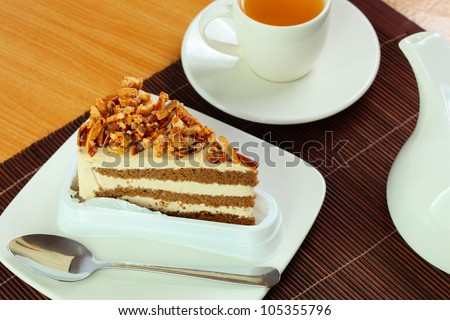 Almond cake and tea.