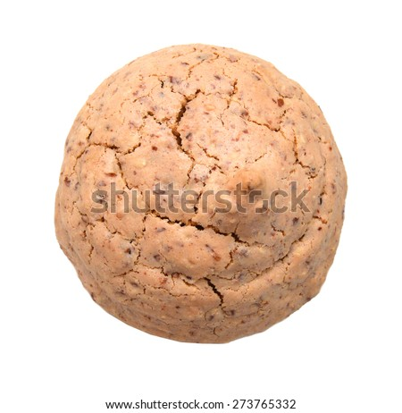 Almond cookie isolated on white background, traditional italian biscuit