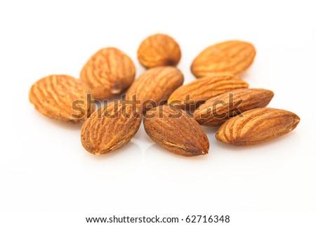 Almond fruit on white background - stock photo