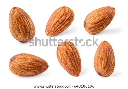 Almond isolated. Nuts on white background. Collection. Clipping path included. Full depth of field.