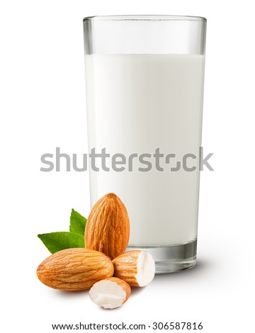 almond milk in the glass on white background Clipping Path