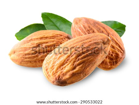 Almond. Nuts with leaves isolated on white background - stock photo