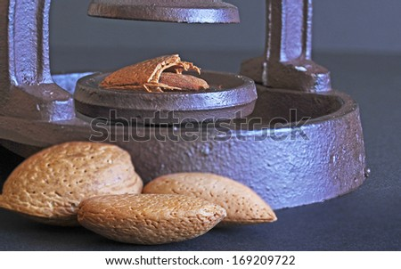 Almonds and an antique nut cracker - stock photo