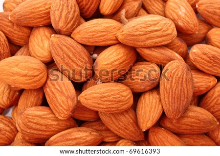 Almonds background - stock photo