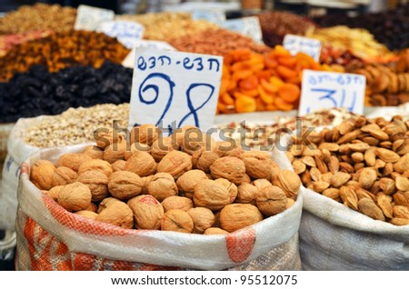almonds in big bag and dry fruits on the market in Jerusalem, Israel