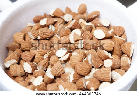 Almonds In Bowl At Ice Cream Shop - stock photo