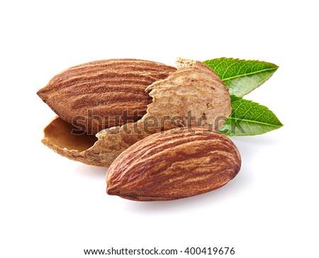 Almonds in closeup - stock photo