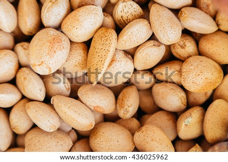 Almonds in the shell background - stock photo
