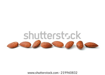 Almonds isolated on white - stock photo