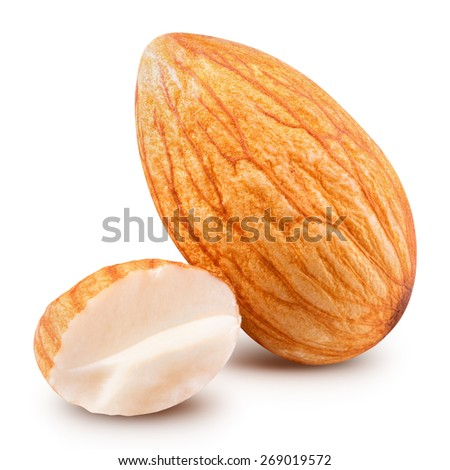 almonds isolated on white background  - stock photo