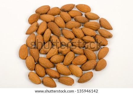 Almonds on a white background - stock photo