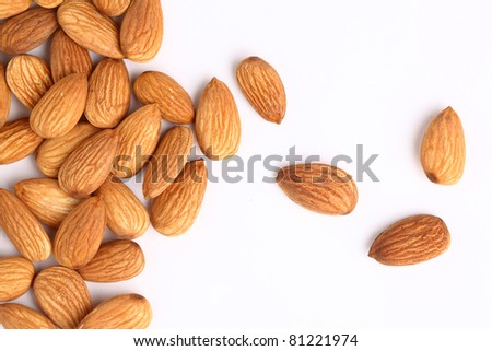 Almonds on a white background - stock photo
