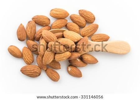 almonds on white background - stock photo