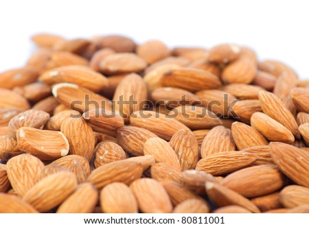 almonds on white background and space for your text
