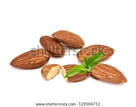 Almonds With Fresh Mint On White Background - stock photo