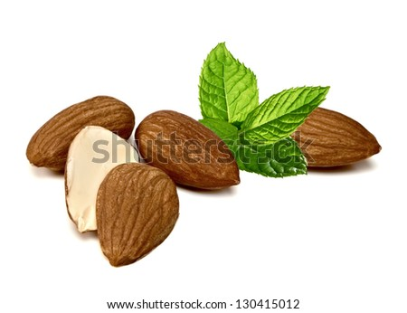 Almonds With Fresh Mint On White Background