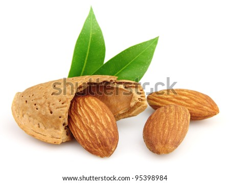 Almonds with kernels - stock photo