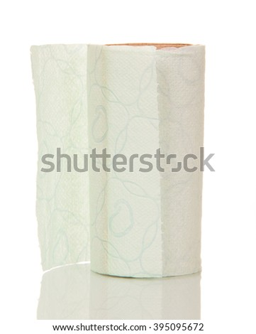Almost empty roll of toilet paper isolated on white background. - stock photo