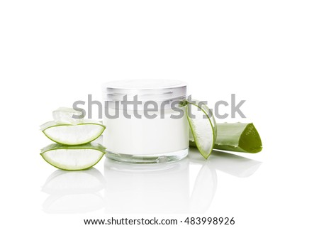 Aloe vera cosmetics. Aloe vera, sliced leaf, and aloe vera cosmetics isolated on white background.