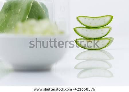 aloe vera fresh leaf  water can help neutralize free radicals Contributes to aging. And help strengthen the immune system as well isolated on white - stock photo