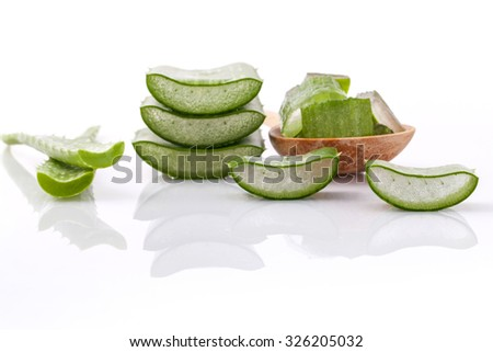 Aloe Vera slice natural spas ingredients for skin care isolated on a white background. - stock photo