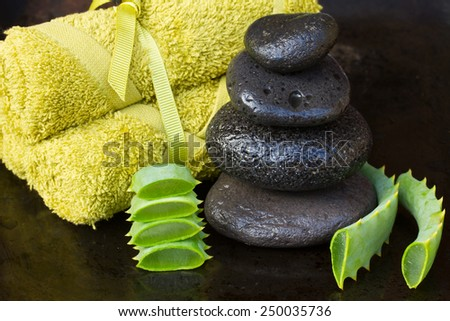 aloe vera spa setting with massage stones and towels  - stock photo