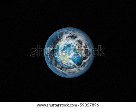 Alone blue Earth in space with clouds