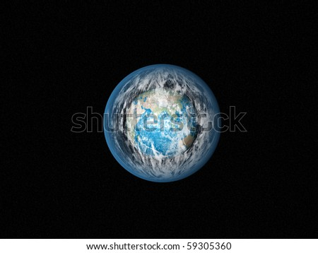 Alone blue Earth in space with strange clouds - stock photo