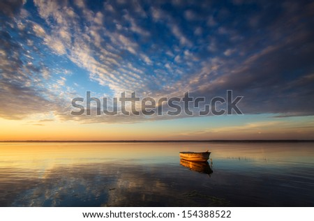 Alone Boat - stock photo