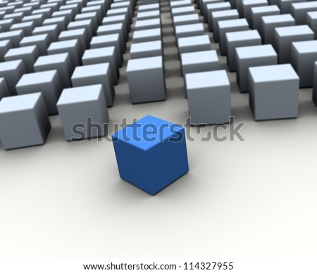 Alone 3d blue block