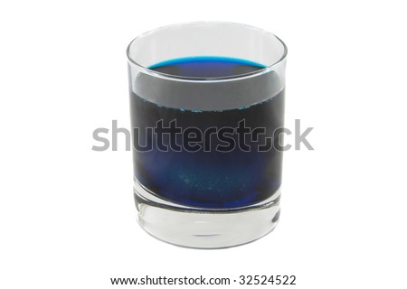 Alone glass with colour cocktail isolated over white background
