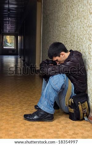 Alone in the dark tunnel, emo - stock photo